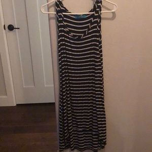 Navy and white high low tank dress